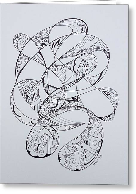 Swirls And Stripes Greeting Cards - Woven Greeting Card by Alicia Gardner Haring