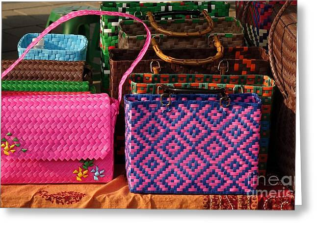 Straps Greeting Cards - Woven Handbags for Sale Greeting Card by Yali Shi