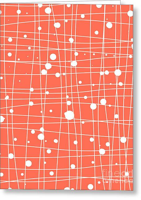Red Abstracts Greeting Cards - Woven web Greeting Card by Budi Kwan
