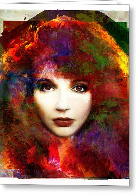 British Celebrities Greeting Cards - WOW - Kate Bush Portrait Greeting Card by Czar Catstick
