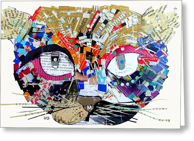 Abstract Cat Greeting Cards - Wowza Greeting Card by Bri Buckley