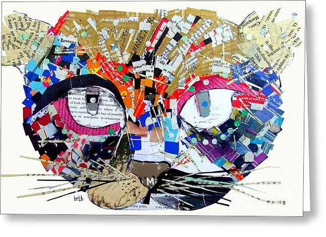 Cat Prints Mixed Media Greeting Cards - Wowza Greeting Card by Bri Buckley