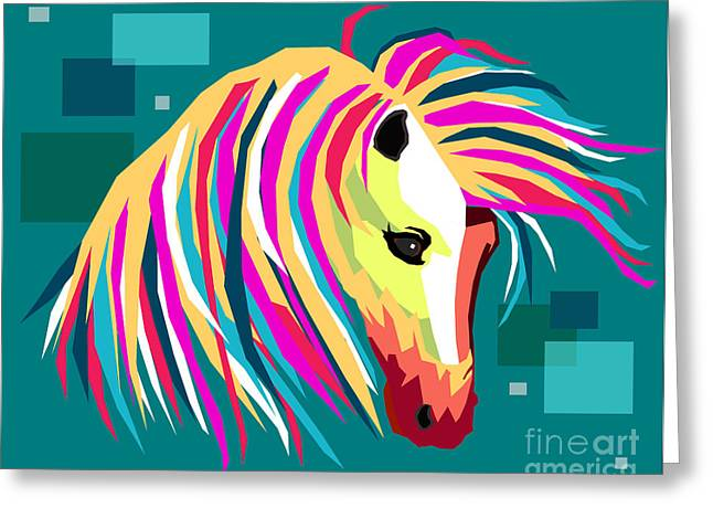 Equine Art Work Greeting Cards - WPAP horse Greeting Card by Mark Ashkenazi
