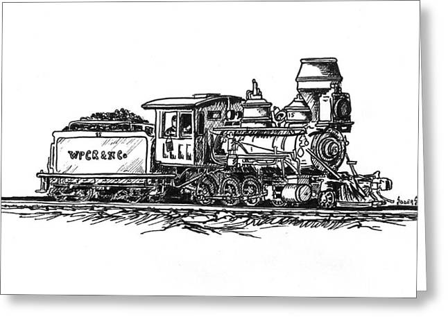 Engines Drawings Greeting Cards - W.P.C..R. Loco Greeting Card by Sam Sidders