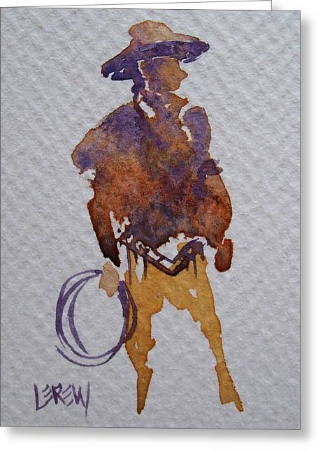 Broncos Drawings Greeting Cards - Wrangler Greeting Card by Larry Lerew