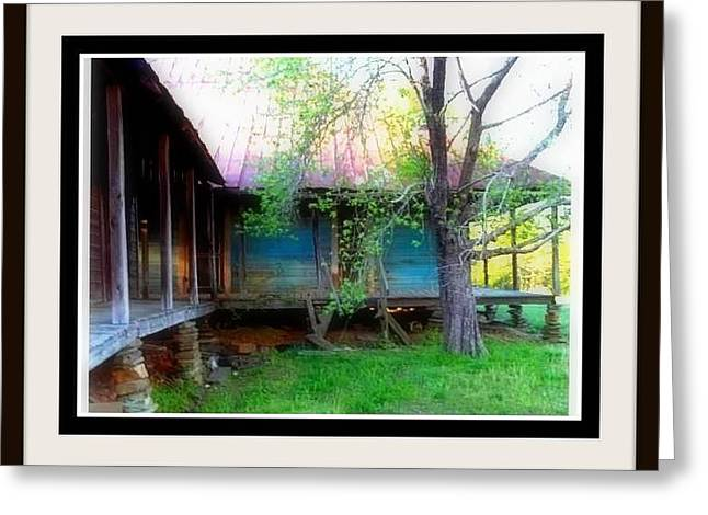 Tin Roof Greeting Cards - Wrap Around Porch On Old Country House Greeting Card by Kristy Cotone