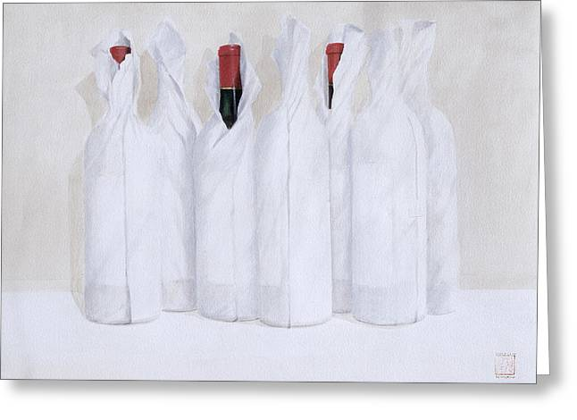 Cellar Paintings Greeting Cards - Wrapped bottles 3 2003 Greeting Card by Lincoln Seligman