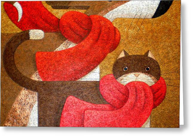 Animals Love Greeting Cards - Wrapped Up In Scarfs Greeting Card by Peter Adderley
