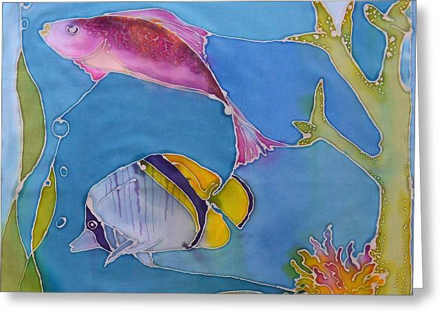 Interior Scene Tapestries - Textiles Greeting Cards - Wrasse and Raccoon Greeting Card by Jamie Schab