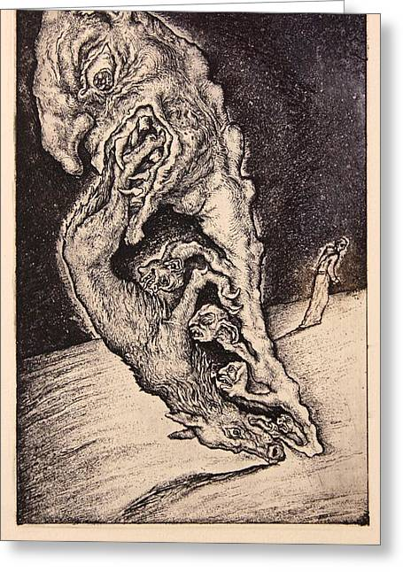 Drypoint Greeting Cards - Wrath. Series Seven Deadly Sins Greeting Card by Leonid Stroganov