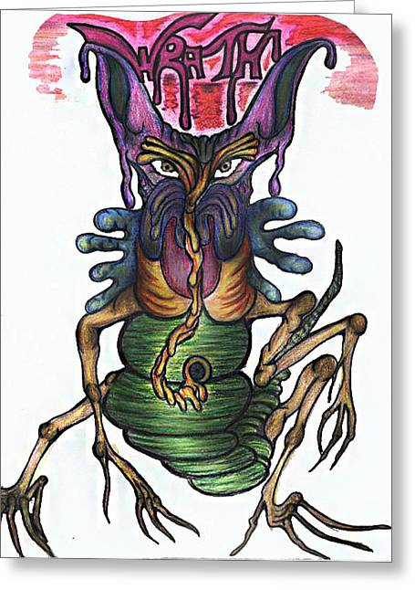 Sloth Mixed Media Greeting Cards - Wrath Greeting Card by Tiffany Selig