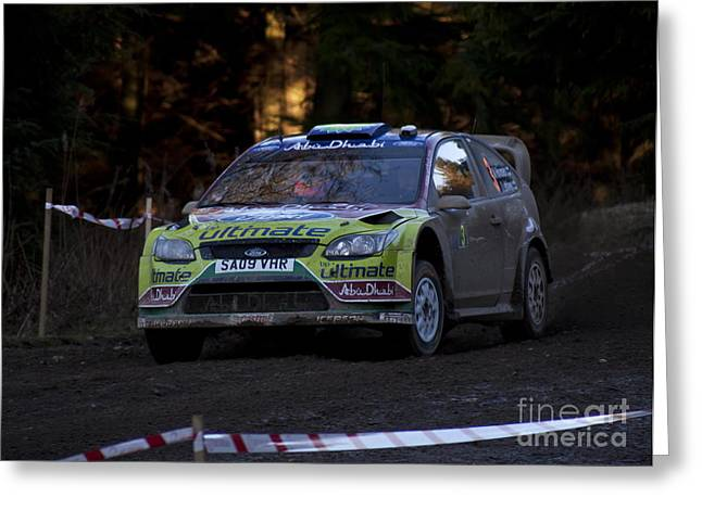Wrc Greeting Cards - WRC Dirt Slide 2 Greeting Card by Graham Downer