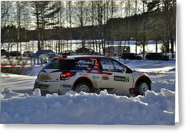 Wrc Greeting Cards - Wrc in the Snow  Greeting Card by Stefan Pettersson