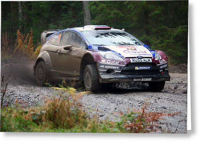 Wrc Greeting Cards - WRC in the Woods Greeting Card by Graham Parry