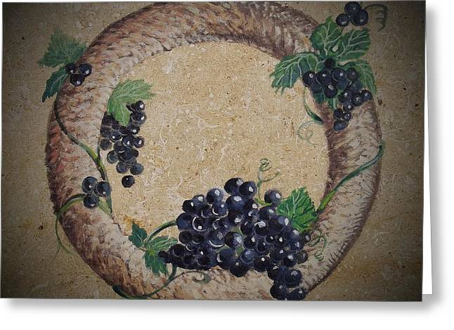 Winemaking Paintings Greeting Cards - Wreath 2 Greeting Card by Andrew Drozdowicz