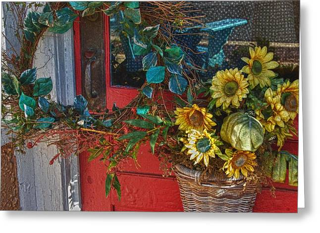 Wreath and the Red Door Greeting Card by Michael Thomas