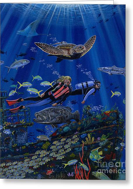 Supply Greeting Cards - Wreck Divers Re0014 Greeting Card by Carey Chen