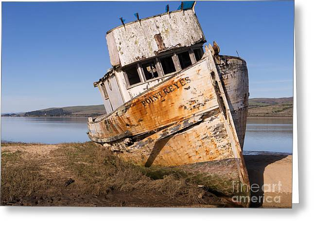 Francis Greeting Cards - Wreck of The Point Reyes Boat In Inverness Point Reyes California DSC2079 Greeting Card by Wingsdomain Art and Photography