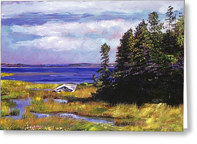 Beach Scenery Paintings Greeting Cards - Wreck of the Rowboat Greeting Card by David Lloyd Glover