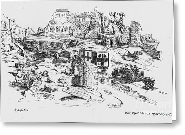Ww Ii Drawings Greeting Cards - Wrecked street thru St Lo France 1944 Greeting Card by David Neace