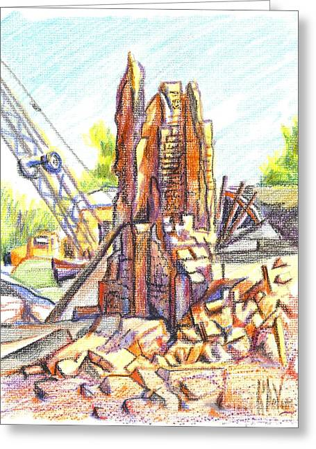 Main Street Greeting Cards - Wrecking Ball Greeting Card by Kip DeVore