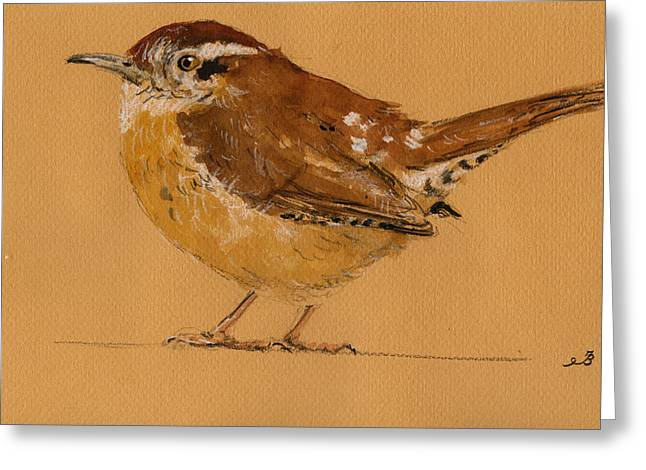 Original Watercolor Greeting Cards - Wren bird Greeting Card by Juan  Bosco