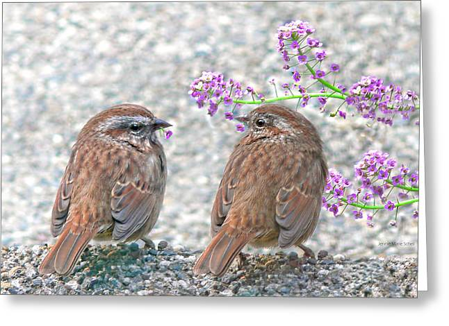 Wrens Greeting Cards - Wren Bird Sweethearts Greeting Card by Jennie Marie Schell