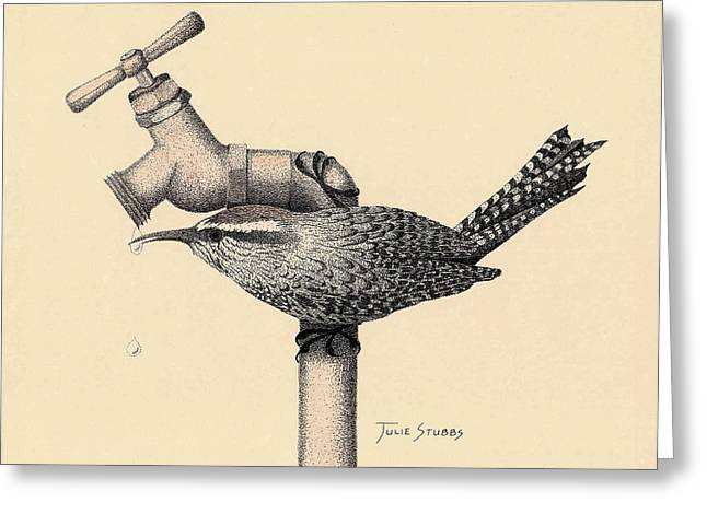 Faucet Mixed Media Greeting Cards - Wren Drop Greeting Card by Julie Stubbs