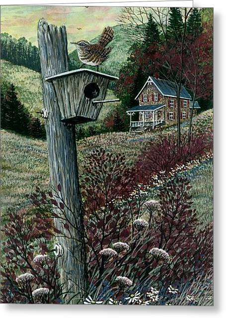 Award Winning Art Greeting Cards - Wren House Greeting Card by Steven Schultz