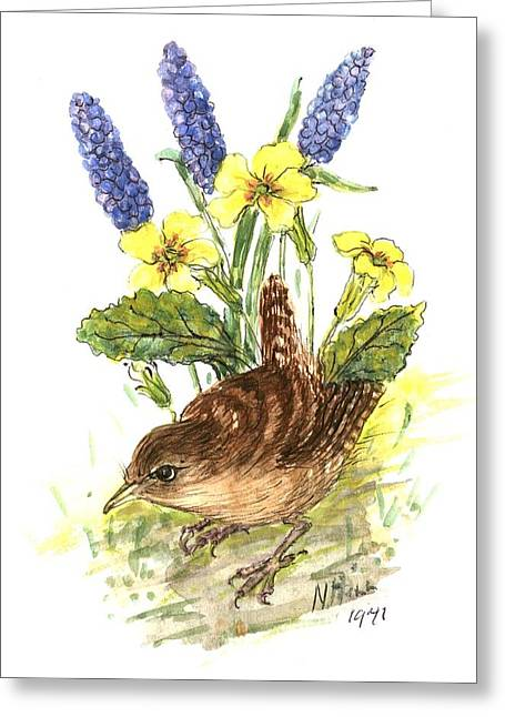 Primroses Greeting Cards - Wren In Primroses Wc On Paper Greeting Card by Nell Hill