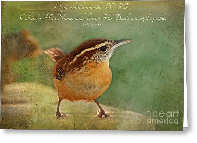 Debbie Portwood Greeting Cards - Wren with verse Greeting Card by Debbie Portwood