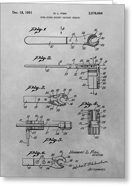 Mechanics Drawings Greeting Cards - Wrench Patent Drawing Greeting Card by Dan Sproul