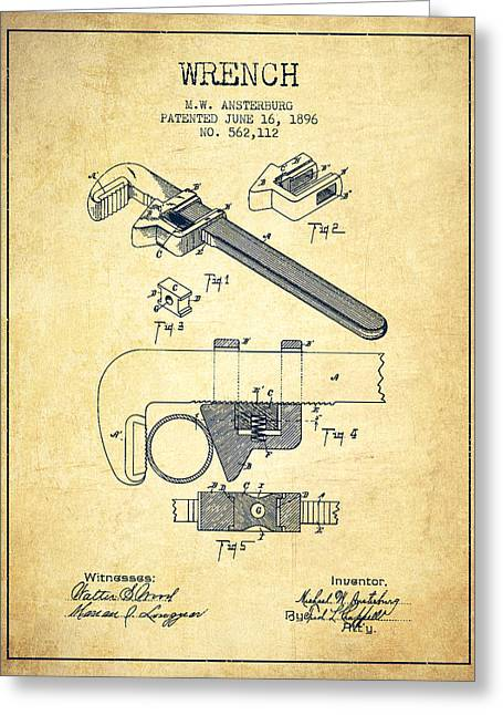 Monkey Greeting Cards - Wrench patent Drawing from 1896 - Vintage Greeting Card by Aged Pixel