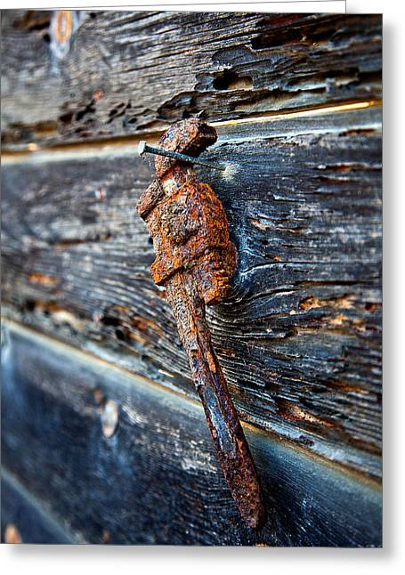 Carlsbad Greeting Cards - Wrenched and Rusted Greeting Card by Peter Tellone