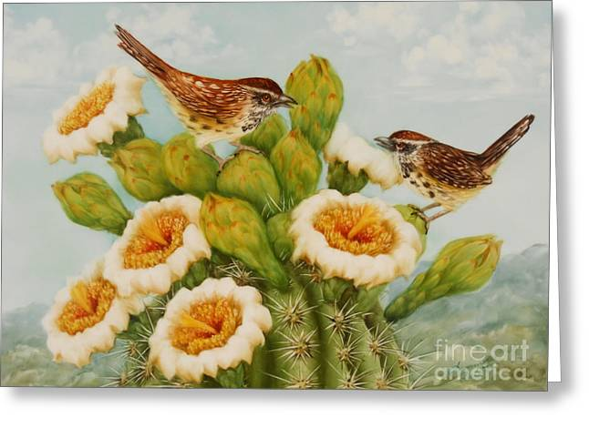 Summer Celeste Greeting Cards - Wrens on Top of Tucson Greeting Card by Summer Celeste