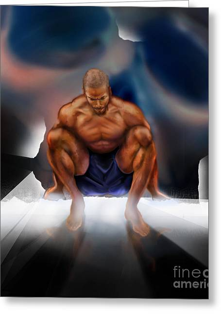 Body Builder Greeting Cards - Wrestle With Darkness Struggle For The Light Greeting Card by Reggie Duffie