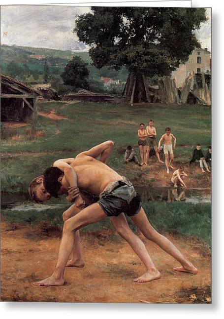 Old Masters Greeting Cards - Wrestling Greeting Card by Emile Friant