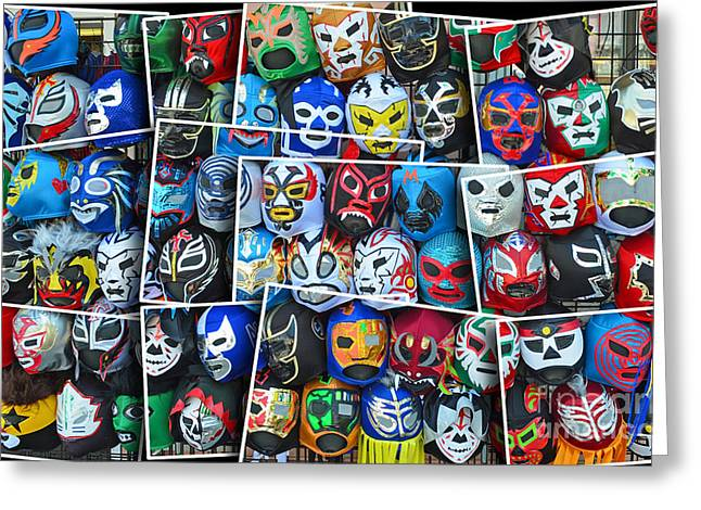 Vince Greeting Cards - Wrestling Masks of Lucha Libre Altered II Greeting Card by Jim Fitzpatrick