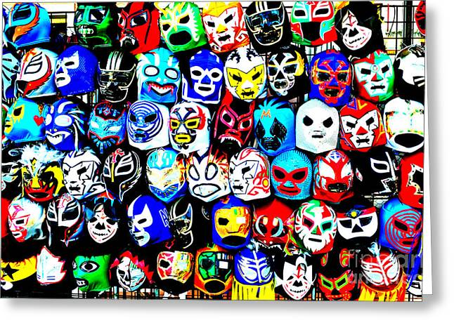 Vince Greeting Cards - Wrestling Masks of Lucha Libre Altered Greeting Card by Jim Fitzpatrick