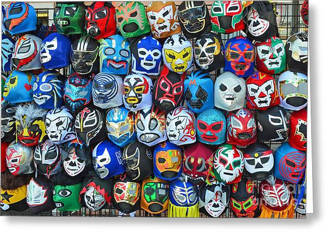 Vince Greeting Cards - Wrestling Masks of Lucha Libre Greeting Card by Jim Fitzpatrick