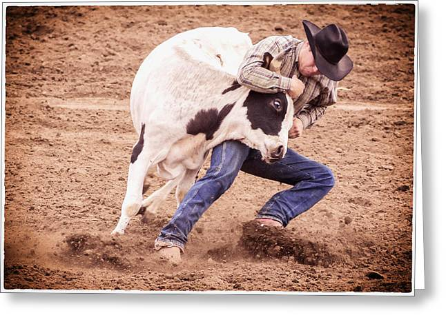 Steer Greeting Cards - Wrestling Match Greeting Card by Caitlyn  Grasso