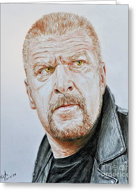 Vince Greeting Cards - Pro Wrestling Superstar Triple H Greeting Card by Jim Fitzpatrick