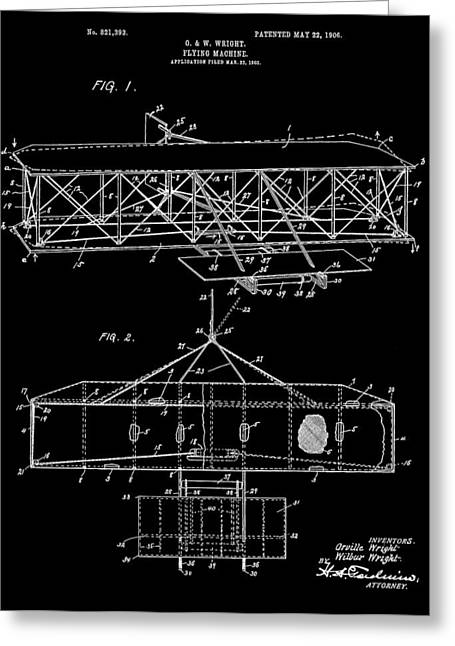 Important Mixed Media Greeting Cards - Wright Bros Airplane Design Greeting Card by Dan Sproul