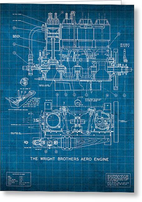Aero Greeting Cards - Wright Brothers Aero Engine Vintage Patent Blueprint Greeting Card by Design Turnpike