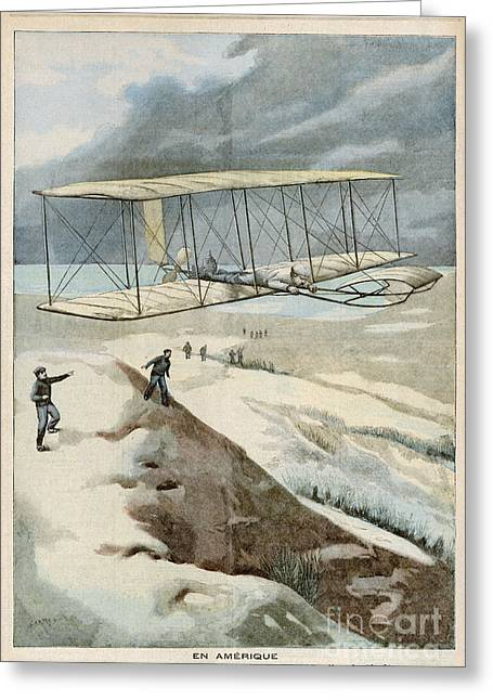 Wright Brothers At Kitty Hawk Greeting Card by Mary Evans Picture Library