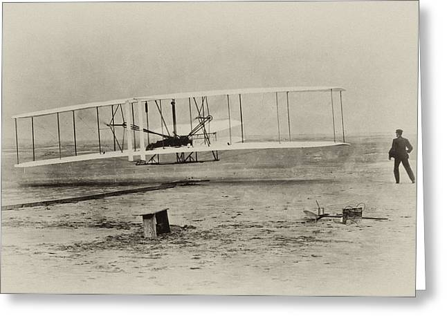 Bill Cannon Photography Greeting Cards - Wright Brothers - First in Flight Greeting Card by Digital Reproductions