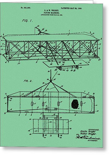Important Mixed Media Greeting Cards - Wright Brothers Patent Green Greeting Card by Dan Sproul