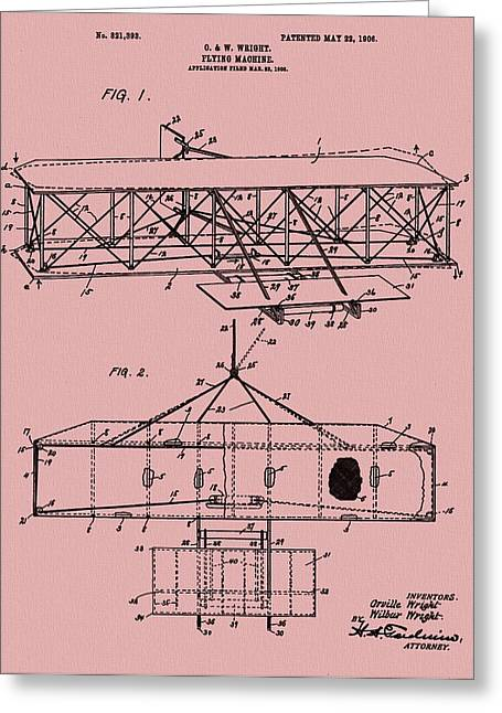 Important Mixed Media Greeting Cards - Wright Brothers Patent Red Greeting Card by Dan Sproul