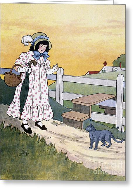 Mother Goose Greeting Cards - Wright: Pussy Cat Greeting Card by Granger