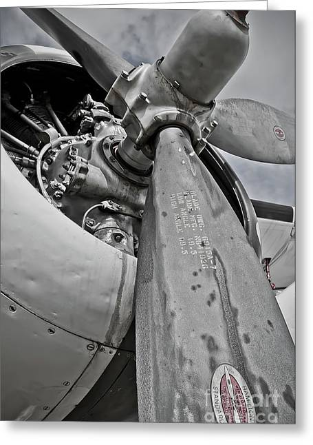 Propeller Greeting Cards - Wright R-1820-82 Cyclone Greeting Card by Charles Dobbs